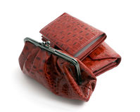 Two red wallets and clutch bag Stock Photo