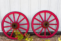 Two red wheels Royalty Free Stock Photography