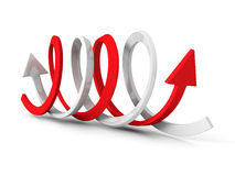 Two Red White Arrows in Different Directions Stock Photos