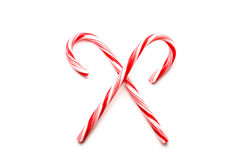 Two red and white Christmas candy canes Stock Photo