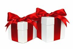Two red and white gift boxes isolated Stock Photography