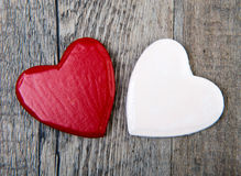 Two red and white hearts for valentine day Stock Photo