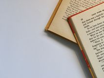 Two Red-and-white Labeled Books stock images