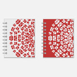 Two red and white notebook covers design Royalty Free Stock Photo