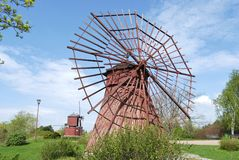 Two Red Windmills Royalty Free Stock Photo