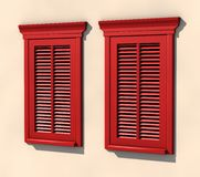 Two red windows in strong summer light Royalty Free Stock Images