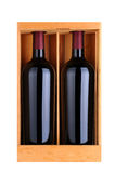 Two Red Wine Bottles in Wood Case Royalty Free Stock Photo