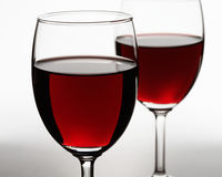 Two red wine glasses Stock Images
