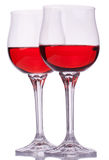 Two red wine glasses Stock Image