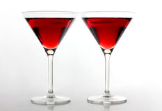Two red wine of glasses Stock Images