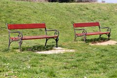 Two red wooden bench in beautiful natural environment, grass and spring flowers / Benches in public park at spring sunny day. Royalty Free Stock Images