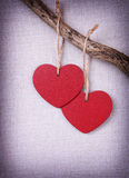 Two red wooden hearts Royalty Free Stock Image