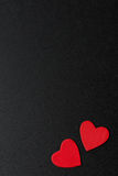Two Red Wooden Hearts On A Black Background Royalty Free Stock Photography