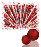 Two red xmas balls vector illustration