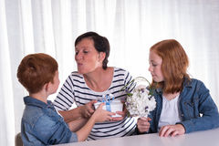 Two redhaired kids giving a present to their mother Royalty Free Stock Image