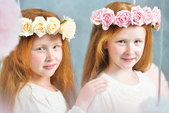 Two redhead sisters posing together Stock Photography