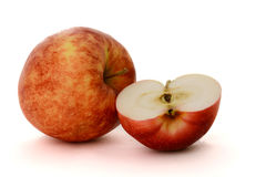 Two reds apples. On the white background Stock Photo