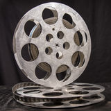 Two reel of film in retro. Movie reel on a black background Stock Photo
