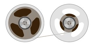 Two reels with a tape. Vector illustration Stock Photography