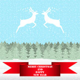 Two reindeer in Christmas forest. Two reindeer in Christmas fairy forest royalty free illustration