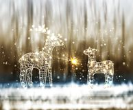 Two Reindeer From Lamp And Wire on the Winter Bokeh Background. vector illustration