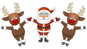 Two reindeer and Santa Claus Stock Photos