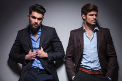 Two relaxed fashion male models Stock Images