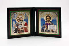 Two religious icons. Isolated on a white background Royalty Free Stock Photo