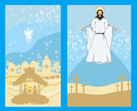 Two religious images - Jesus Christ bless and birth of Jesus Stock Photography