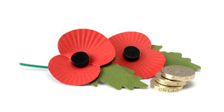 Two Remembrance Poppies with stacked UK coins. Studio macro of two remembrance poppies with a stack of UK pound coins against a white background. Copy space stock photo