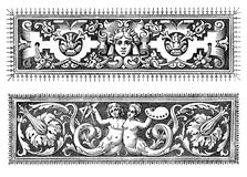 Two Renaissance decorative borders. Two richly decorated baroque typographic borders with figures, objects  and floreal motives Stock Photos