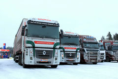 Two Renault Magnum Trucks In Winter royalty free stock photos