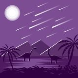 Dinosaurs Under Meteorite Sky at Night Flat Jurassic Landscape. Two reptiles in ancient landscape Stock Photo