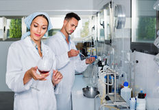 Two researchers in white coat checking wine acidity in laboratory Stock Photography