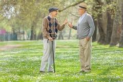 Two retired seniors talking in park Stock Photo