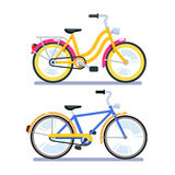 Two retro bicycles for woman and man. Two retro bicycles for woman with low frame and man with high. Flat style vector illustration isolated on white background Stock Images