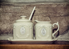 Two retro ceramic sugar bowls Stock Photography