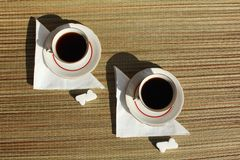 Two retro coffee cups Stock Photos