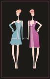 The two retro dresses for a celebration Royalty Free Stock Photo