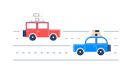 Two retro flat cars, traveling. Along the road, with suitcases and boxes, on a trip vector illustration