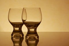Two Retro Glasses. In yellow photography Royalty Free Stock Image