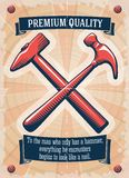Two retro hammers tool shop poster vector illustration