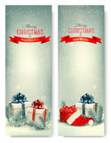 Two retro holiday banners with gift boxes and ribb Royalty Free Stock Photos