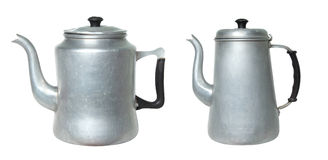 Two retro kettle on white background Royalty Free Stock Photo