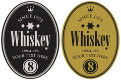 Two retro labels for whiskey in the oval frame Stock Photo