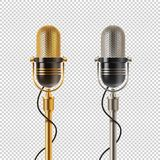 Two retro microphones - golden and chromium, on a checkered background. stock illustration