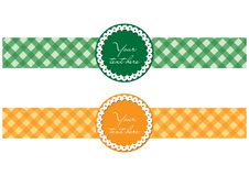 Two retro/modern labels in green and orange color Stock Photos
