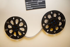 Two retro motion picture film reels Royalty Free Stock Photography
