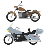 Two retro motorbikes isolated on white, vintage motorcycle Royalty Free Stock Photos