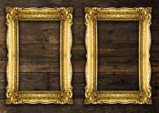 Two Retro Old Gold Rustic Picture Frames royalty free stock photo